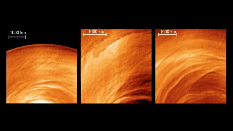 La forma de las nubes nocturnas de Venus