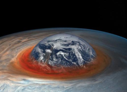 Una obra inspirada en la Gran Mancha Roja de Júpiter.