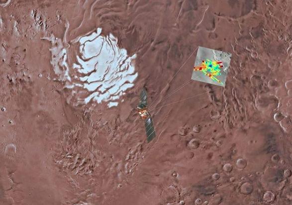 ¿Lagos salados escondidos bajo el polo sur de Marte?