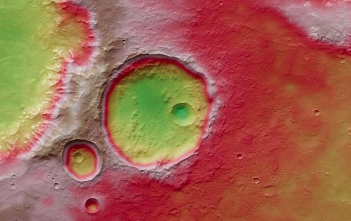 Cráteres y colapso en Marte.